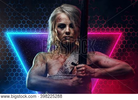 Powerful And Bandaged Female Barbarian With Gray Hairs And Grimy Skin Poses In Abstract And Colourfu