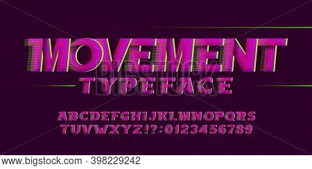 Movement Alphabet Font. High Speed Effect Letters And Numbers. Stock Vector Typescript For Your Desi