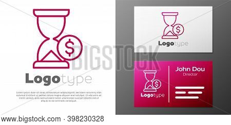 Logotype Line Hourglass With Dollar Icon Isolated On White Background. Money Time. Sandglass And Mon