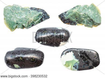 Collection Of Teisky Jade (hantigyrite, Khakassian Serpentine) Stones From Magnetite Serpentine Hema