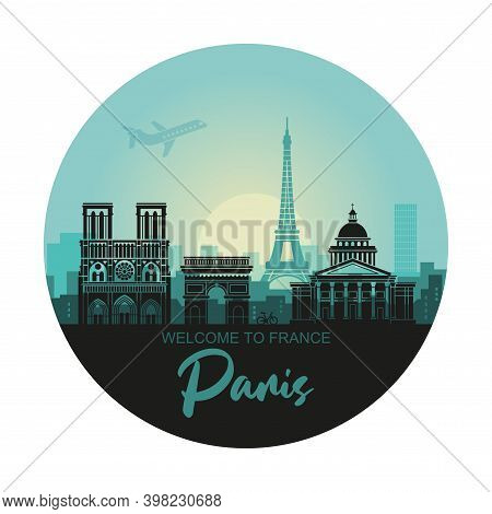 Stylized Round Landscape Of Paris With Eiffel Tower, Arc De Triomphe And Notre Dame Cathedral