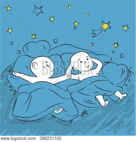 Cute Cartoon Couple Cuddles In Bed - Vector Cartoon Of A Boyfriend And Girlfriend Sleeping Together.