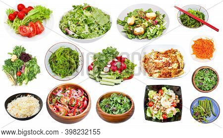 Collection Of Various Vegetable Salads Isolated On White Background