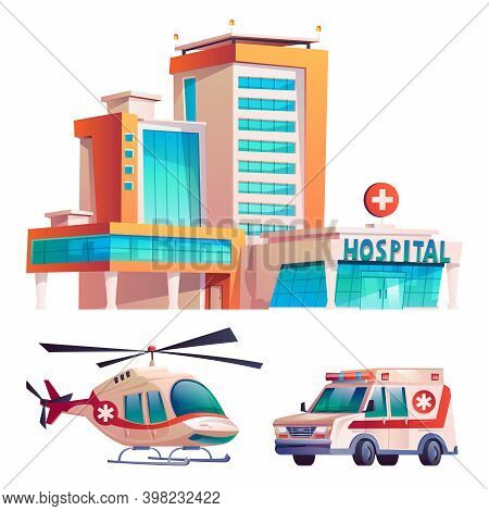Medical Clinic With Hospital Building, Ambulance Van And Helicopter Isolated Cartoon Icons Set. Vect