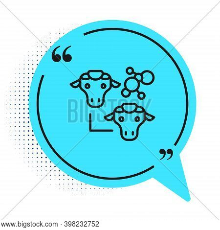 Black Line Cloning Icon Isolated On White Background. Genetic Engineering Concept. Blue Speech Bubbl
