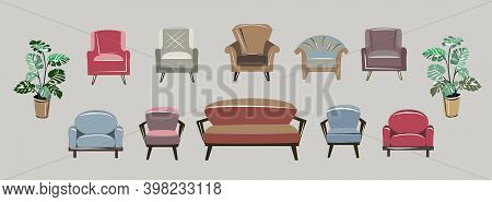 A Set Of Different Armchairs And Sofas. Bright Pieces Of Furniture And Pastel Colors. Two Flowers In