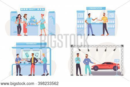 Set Of Expo Exhibition Stands Isolated Beauty Shop, Mobile Goods Presentation, Sale Of Modern Gadget