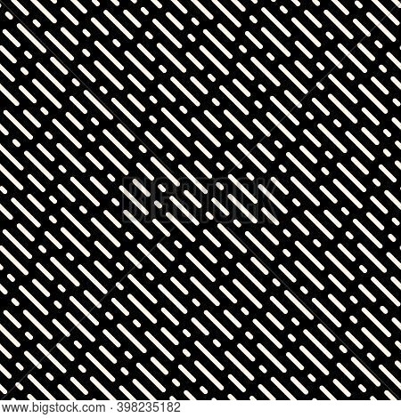 Diagonal Dash Line Pattern. Vector Monochrome Seamless Texture With Oblique Parallel Rounded Lines.