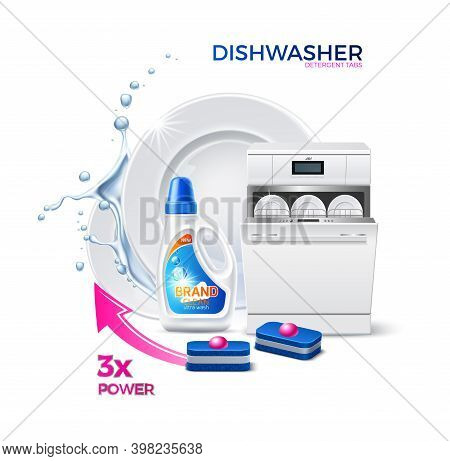Vector Realistic Dishwasher Tabs Ad Template A
