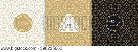 Vector Golden Geometric Seamless Patterns With Modern Minimal Labels. Elegant Floral Ornament. Gold