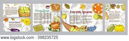 Autumn Seamless Pattern Of Elements With Thanksgiving Symbols, Cornucopia