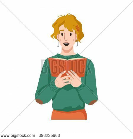 Woman Surprised By Reading Book Isolated Flat Cartoon Character. Vector European Or American Girl Fe