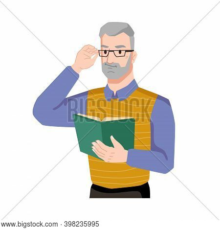 Man Enjoys Reading Book Isolated Flat Cartoon Character Feeling With Novel Or Poetry. Vector Bearded