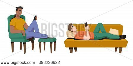 Guys Lying And Sitting On Couch Or Armchair At Home Isolated. Vector Teenager Boy Uses Smartphone, B