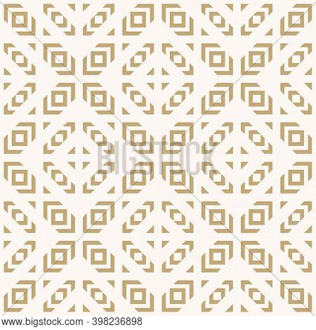Golden Vector Geometric Seamless Pattern. Tribal Ethnic Motif. Abstract Gold Texture With Squares, T