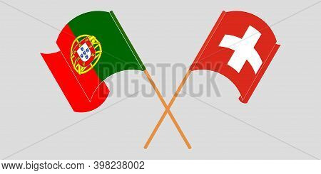 Crossed And Waving Flags Of Switzerland And Portugal. Vector Illustration