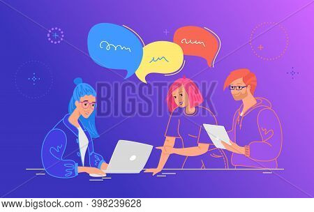 Three Guys Working As Team And Talking With Speech Bubbles. Flat Line Vector Illustration Of People