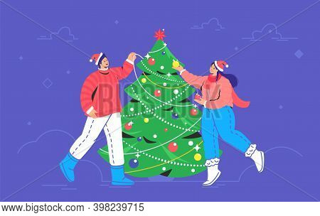 Christmas Tree Decoration. Flat Vector Symbol Of Smiling Couple Wearing Santa Red Hats Are Decoratin