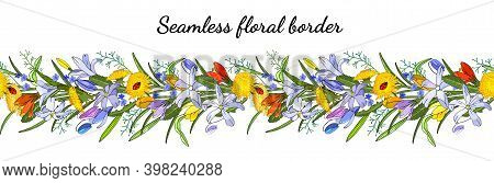 Seamless Spring Flower Border Isolated On White. Vector Hand Drawn Pattern.