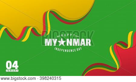 Myanmar Background Design With Myanmar Flag Color. Good Template For Myanmar Independence Day Or Nat