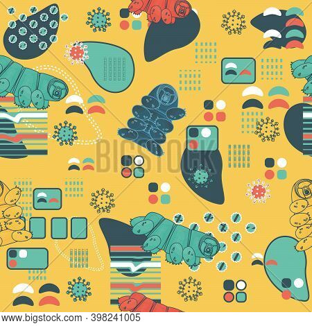 Yellow, Blue, White, Pink Tardigrade Abstract Seamless Repeat Pattern With Lines And Dots