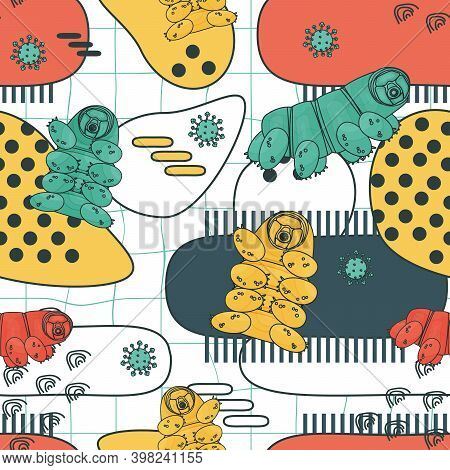 White, Blue, Yellow, Pink Colorful Abstract Repeat Seamless Pattern Of Water Bears Or Tardigrades