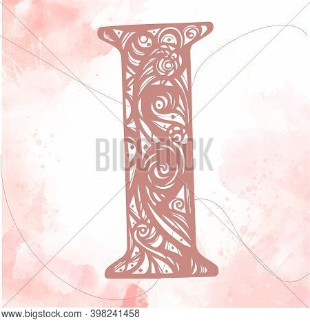 Vintage Initials Letter I. Pink Color Initials Litter On A Watercolor Background. Initials I. Alphab