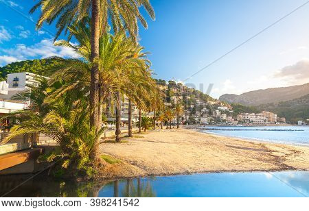 Beautiful Harbour Of Port De Soller, Majorca, Balearic Islands, Spain