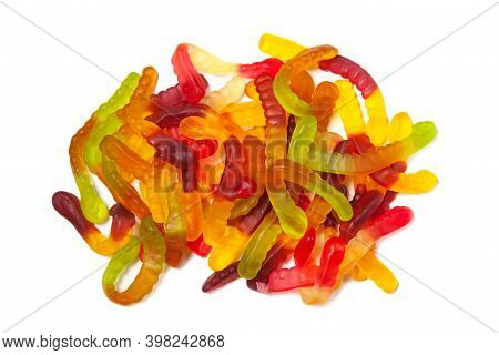 Tasty Jelly Worms Isolated On White Background.