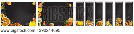 Horizontal Banners With Apples, Apple Slices, Apple Pies, Apple Juice Jug, Basket