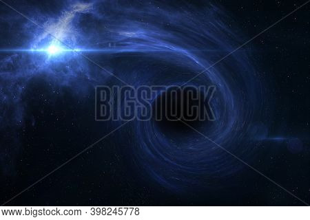 Black Hole Devours Star. Black Hole, Nebula And Galaxy In Deep Outer Space. Science Fiction Wallpape
