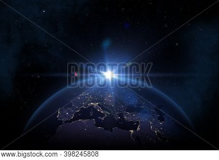 Beautiful Planet Earth With Night City Lights. Europe, Asia And Africa At Night Viewed From Space Wi