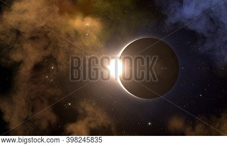 Solar Eclipse, Galaxy And Nebula In Deep Outer Space. Solar Eclipse Natural Phenomenon When Moon Pas
