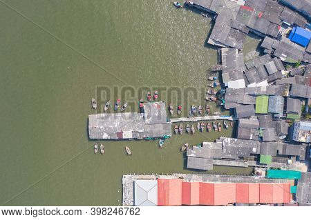 Aerial View Of Ang Sila In Sri Racha District With Sea, Chonburi Skyline, Thailand. Urban City In As
