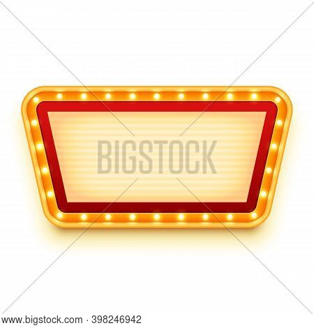 Vintage Wall Sign With Glowing Bulbs. Wall Signboard With Marquee Lights. Retro Frame With Light Bul
