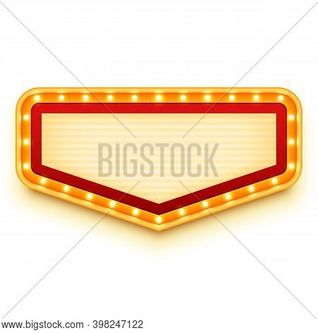 Vintage Marquee Sign With Glowing Bulbs. Wall Light With Marquee Lights. Retro Banner With Light Bul