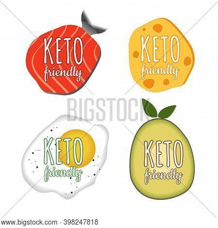 Set Of Keto Diet Badge. Vector Illustration. Ketogenic Diet Logo Sign. Keto Diet Menu. Collection Sa