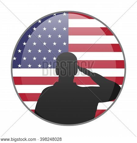 Saluting Silhouette On American Flag Round Icon. Veterans Day Or Memorial Day Proud Patriot Concept.