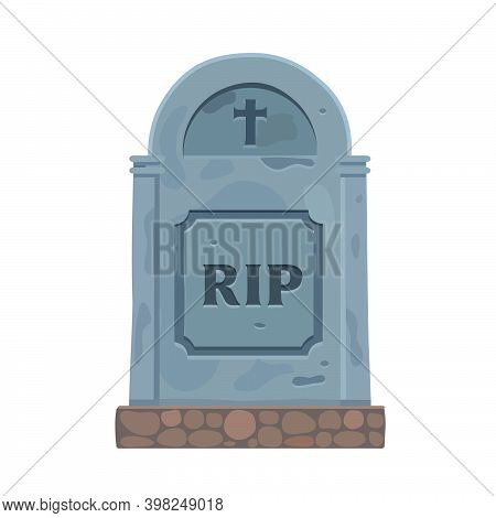 The Headstone Is Made Of Stone And Looks Very Old. Icon. Vector Illustration