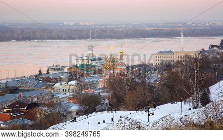 Urban Winter Landscape Of Nizhny Novgorod At Sunset