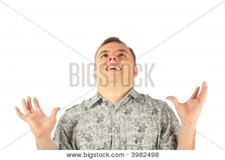 Man In Enthusiasm Looks Upward With Hads Up