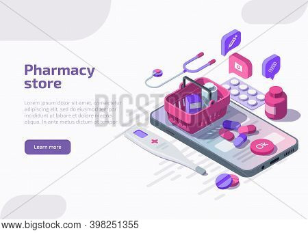 Isometric Online Pharmacy Store With Pills Blister Pack, Medicine Tablets, Pharmaceutical Capsules,