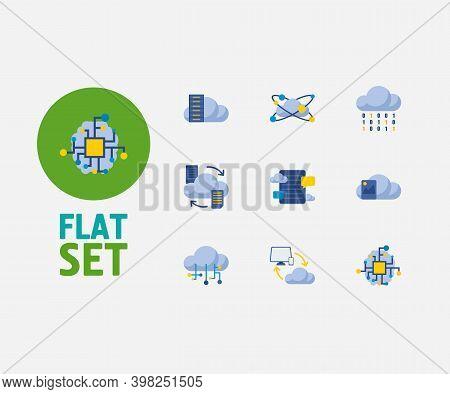 Cloud Technology Icons Set. Artificial Intelligence And Cloud Technology Icons With Data Transfer, C