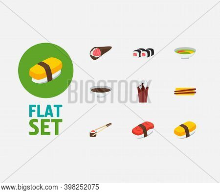 Food Icons Set. Soy And Food Icons With Chopstick, Tamago Nigiri And Sushi Sticks. Set Of Chopsticks