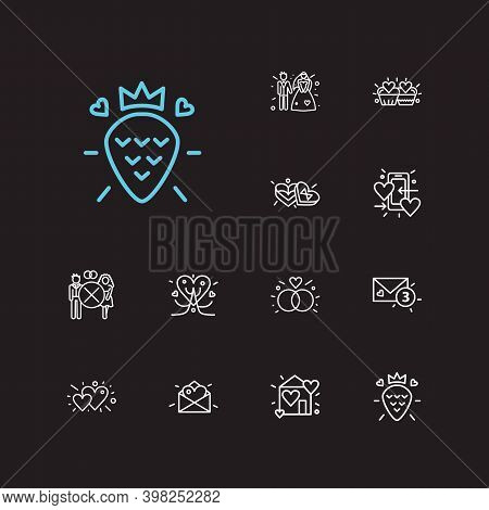 Romance Icons Set. Hearts And Romance Icons With Groom With Bridal, Dating App And Love Tree. Set Of