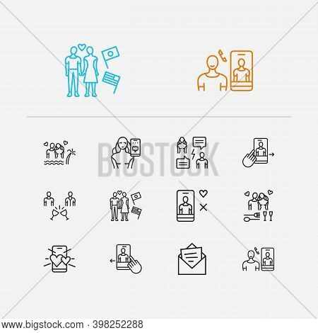 Online Dating Icons Set. Online Dating App And Online Dating Icons With Dating Profile Man, Cursor A