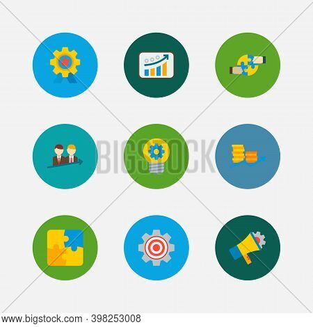 Technology Cooperation Icons Set. Successful Partnership And Technology Cooperation Icons With Creat