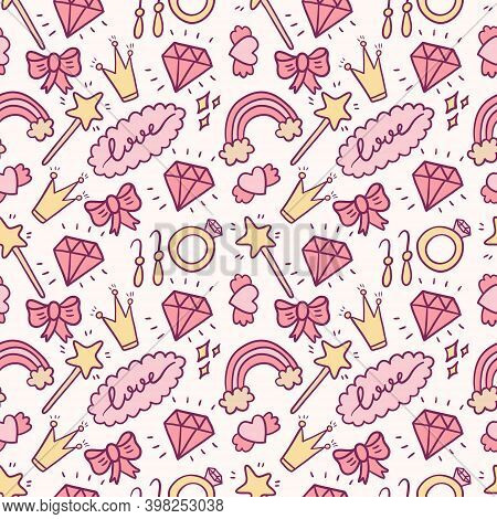 Vector Pink Seamless Pattern. Cute Doodle Isolated Illustration. Princess Girl Jewelry. Background O
