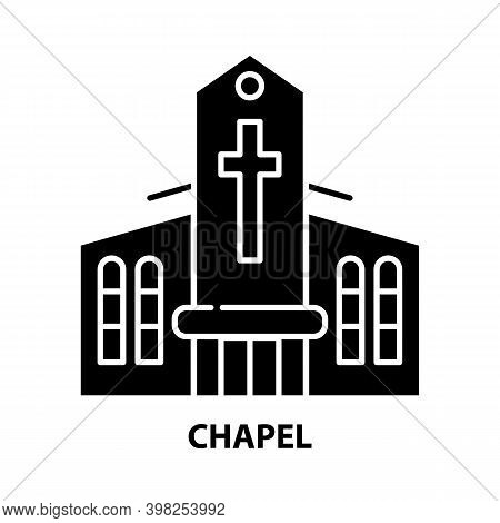 Chapel Icon, Black Vector Sign With Editable Strokes, Concept Illustration
