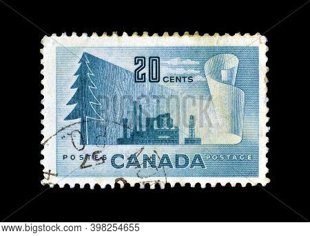 Canada - Circa 1952 : Cancelled Postage Stamp Printed By Canada, That Shows Forestry Products, Circa
